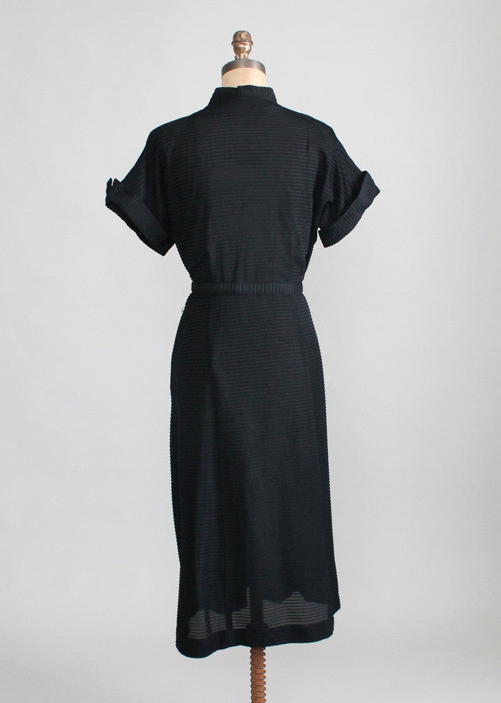 Vintage Early 1950s Black Rayon Pintuck Dress