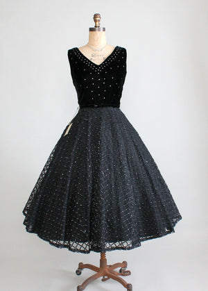 Vintage 1950s Night Sky Velvet and Rhinestone Party Dress