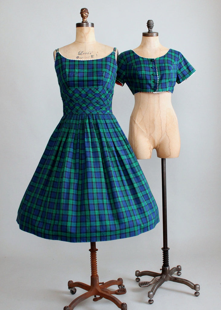 Vintage 1950s Tartan Plaid Sundress and Bolero Jacket