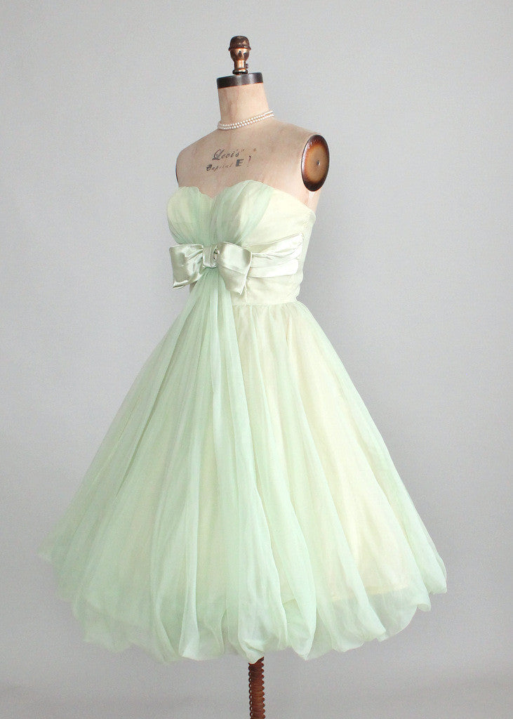 Vintage Early 1960s Minty Green Strapless Prom Dress | Raleigh Vintage