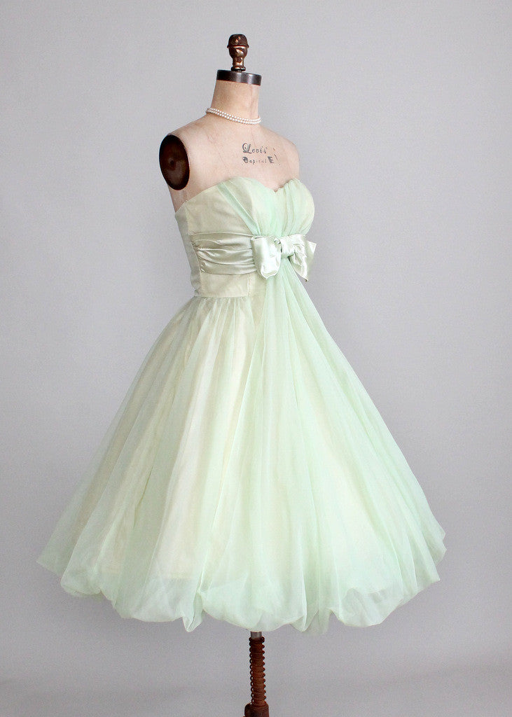 Vintage Early 1960s Minty Green Strapless Prom Dress