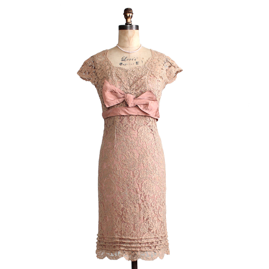 Vintage 1950s Ecru Lace Wiggle Dress