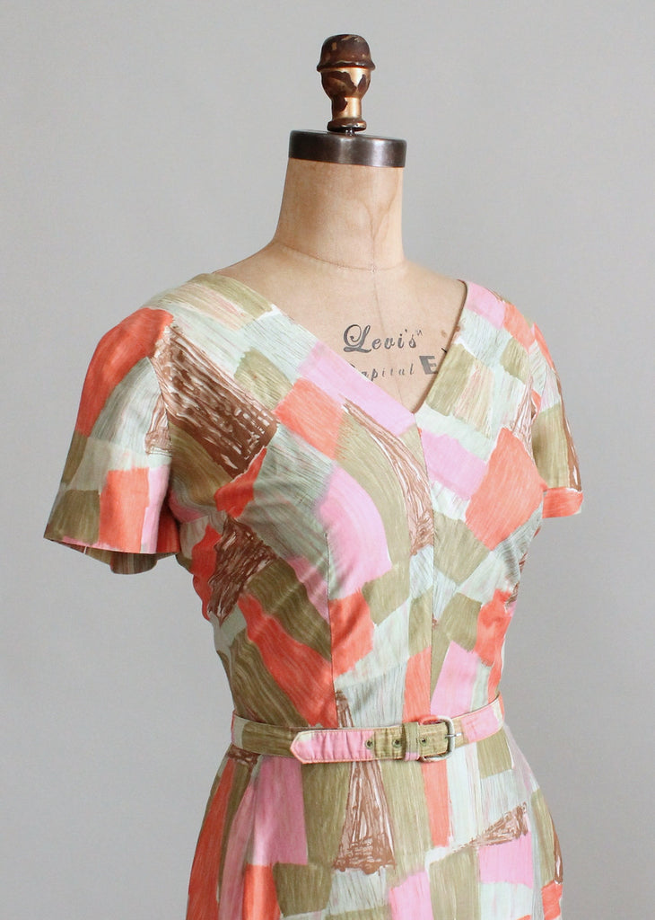 Vintage 1960s Edith Flagg Painted Patchwork Day Dress