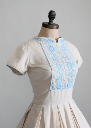 Vintage 1960s Embroidered Cotton Day Dress