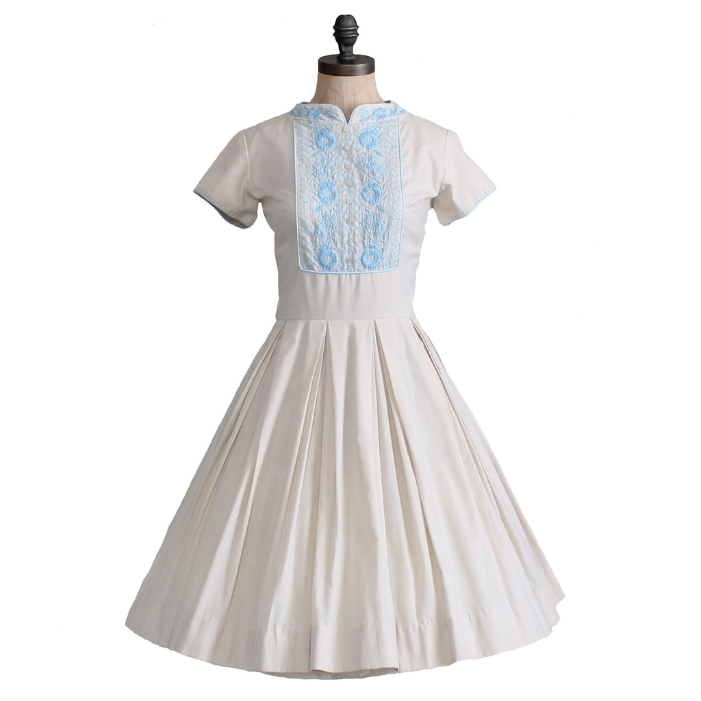 Vintage Wedding Dresses Raleigh Nc: Vintage 1960s Embroidered Cotton Day Dress