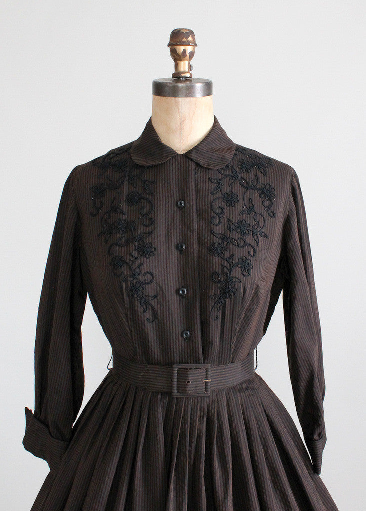 Vintage 1950s Winter Enchantress Shirtwaist Dress