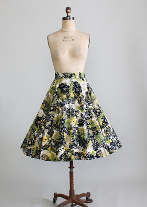 Vintage 1950s Painted Felt Circle Skirt