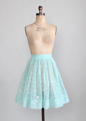Vintage 1960s Celeste Flocked Sheer Skirt