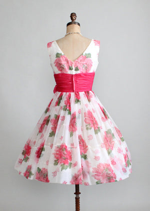 Vintage 1950s Pink Roses Chiffon Party Dress