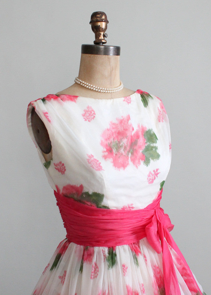 Vintage 1950s Pink Roses Chiffon Party Dress Raleigh Vintage