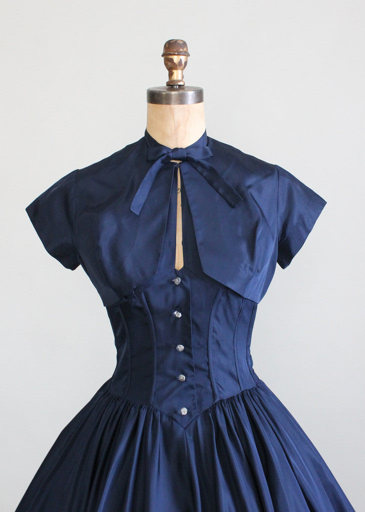 Vintage Late 1940s Taffeta Halter Party Dress And Bolero