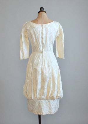 Vintage 1950s Gay Gibson Brocade Winter Wedding Dress