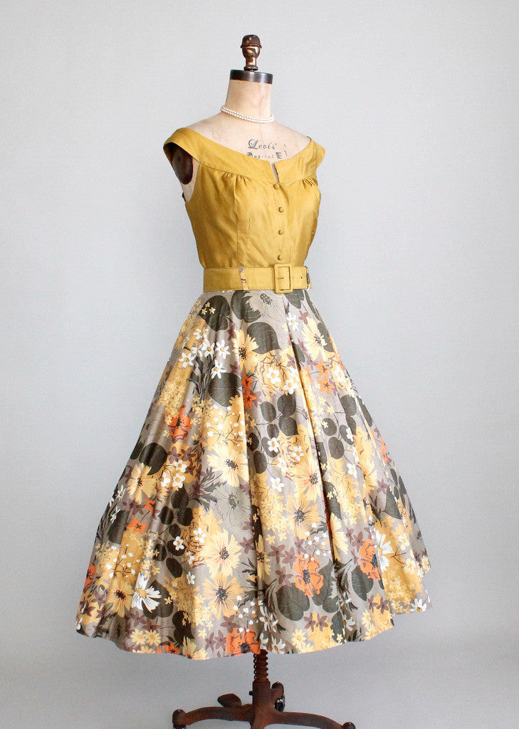 Vintage 1950s Two Piece Cress Green Floral Dress Set