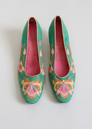 Vintage 1960s Taj Tajerie Embroidered Party Shoes