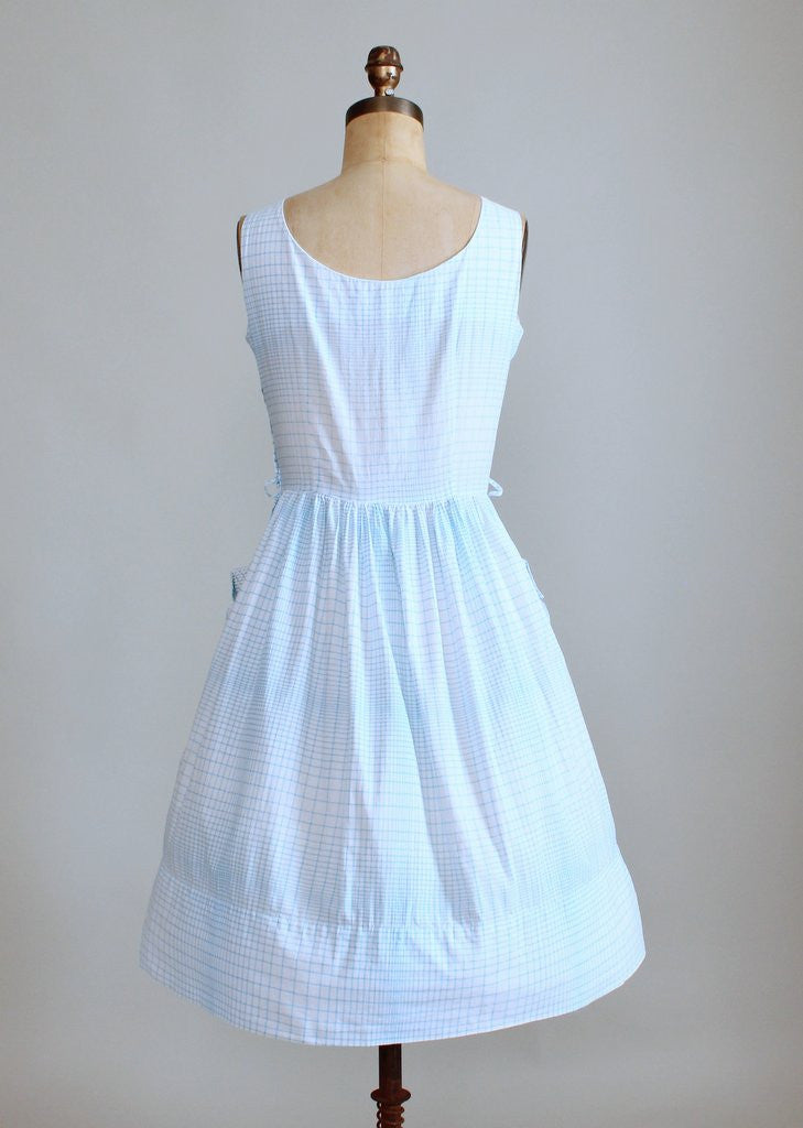 Vintage Early 1960s Graph Paper Cotton Sundress