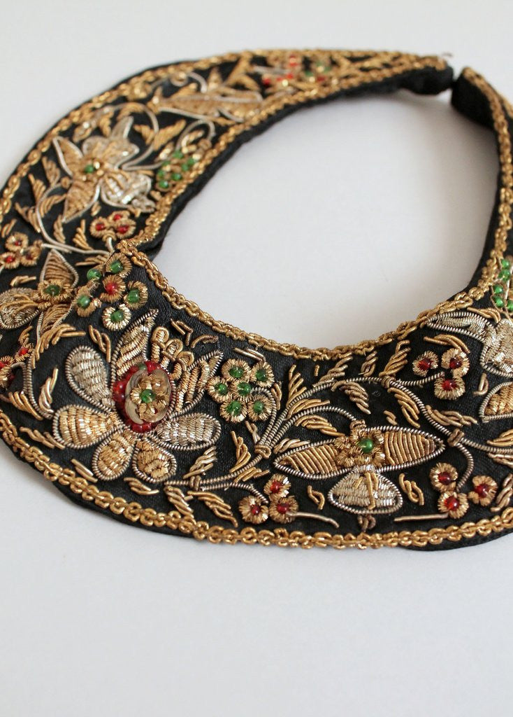 Vintage 1950s Indian Metalic Embroidered Collar