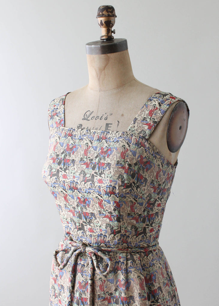 Vintage 1960s Iranian Woven Silk Novelty Print Dress