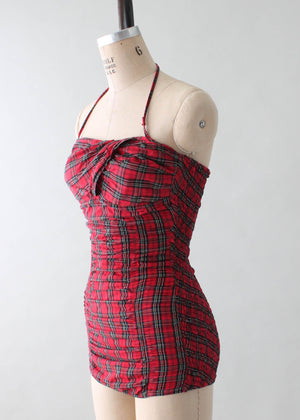 Vintage 1950s Jantzen Red Plaid Pin Up Swimsuit