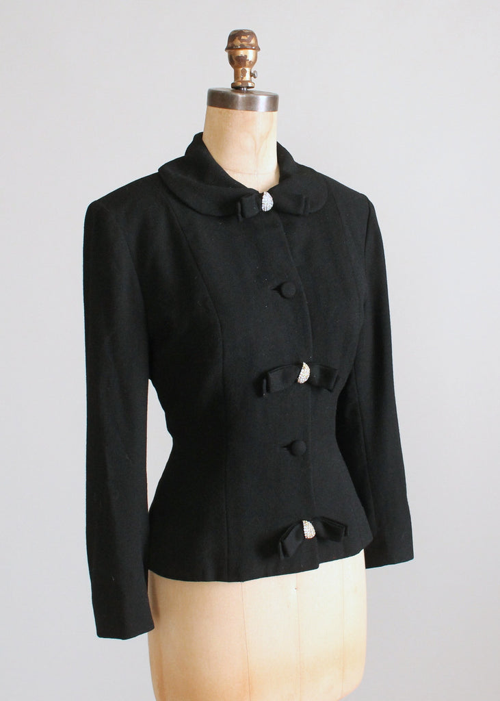 Vintage 1950s Lilli Ann Black Wool Jacket with Rhinestone Accents
