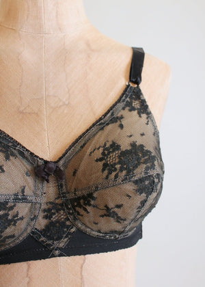 Vintage 1950s Lily of France Black Lace Bra