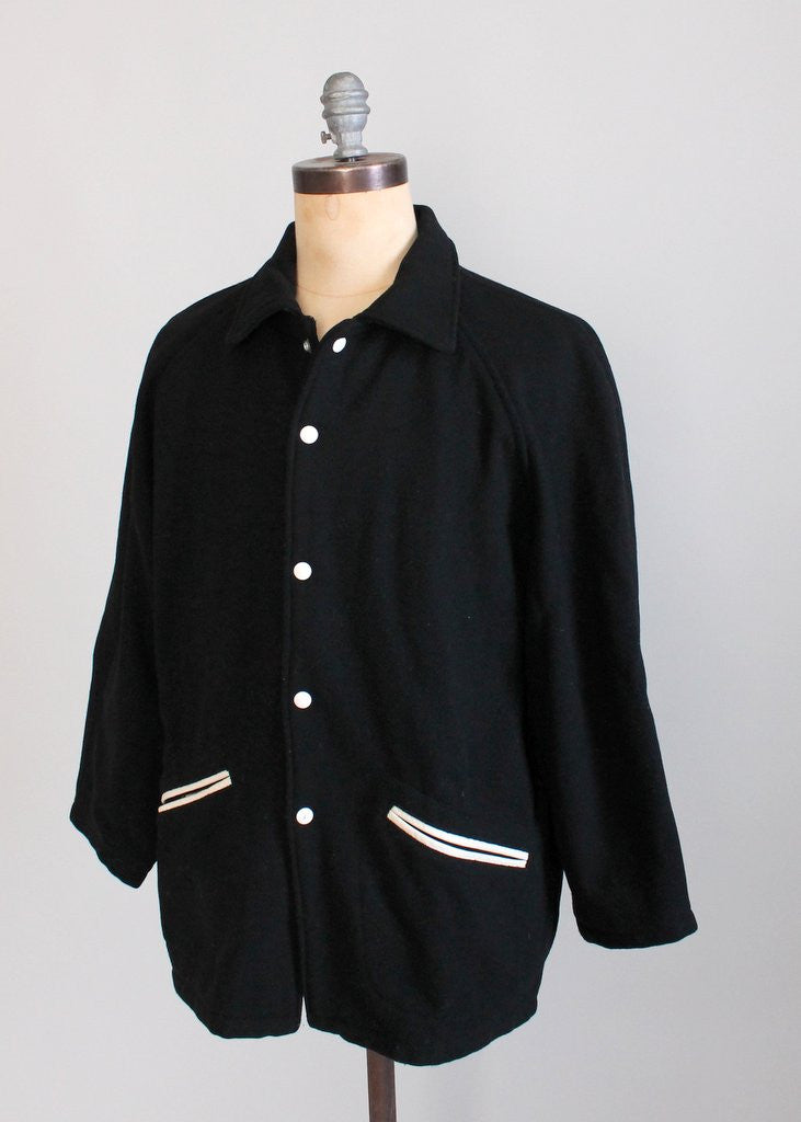 Vintage 1950s Black Wool Letterman Jacket