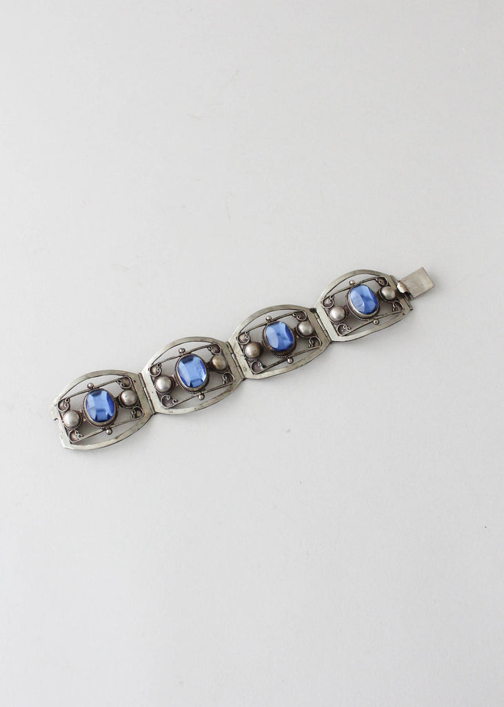 Vintage 1950s Mexican Silver and Blue Glass Bracelet