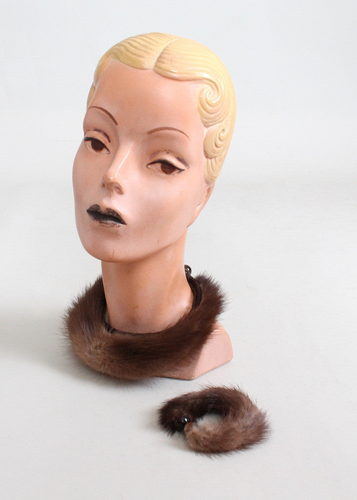 Vintage 1950s Mink Choker Necklace and Bracelet