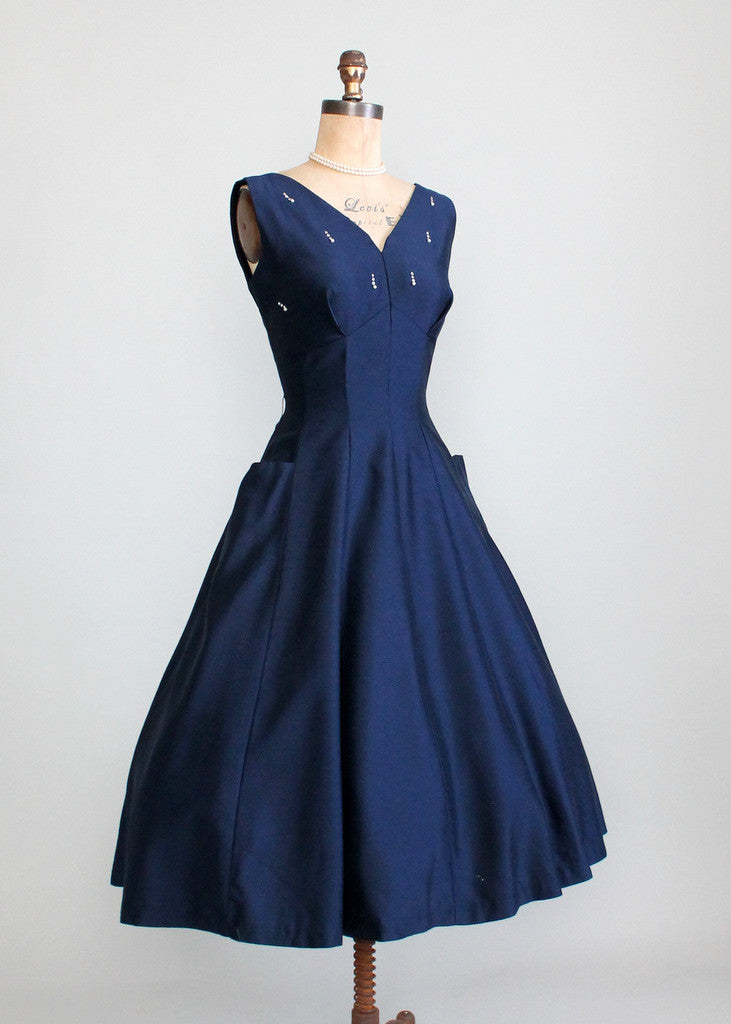 1950s Navy Party Dress