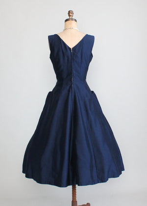 Vintage 1950s Navy Fit and Flare Cocktail Dress