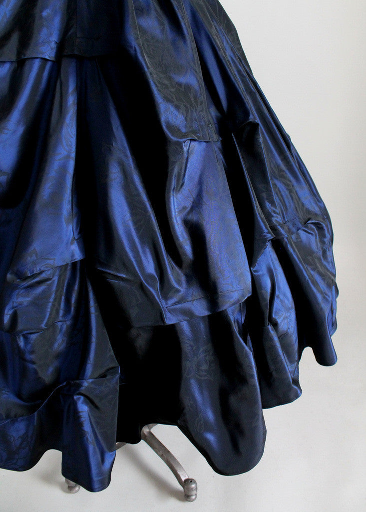 Vintage 1950s Pucker Up Navy Taffeta Party Dress