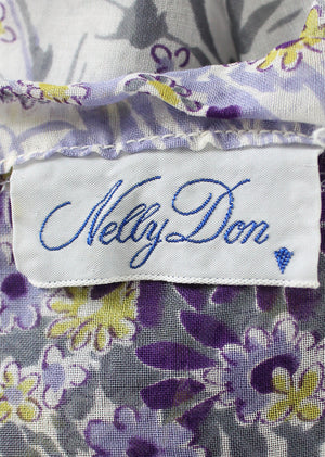 Vintage Early 1950s Nelly Don Violet Floral Sheer Dress