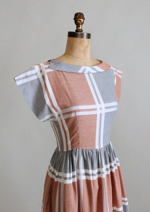 Vintage 1950s Neutral Windowpane Plaid Cotton Dress