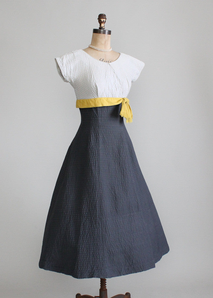 Vintage 1950s Parnes Feinstein Color Blocked Dress