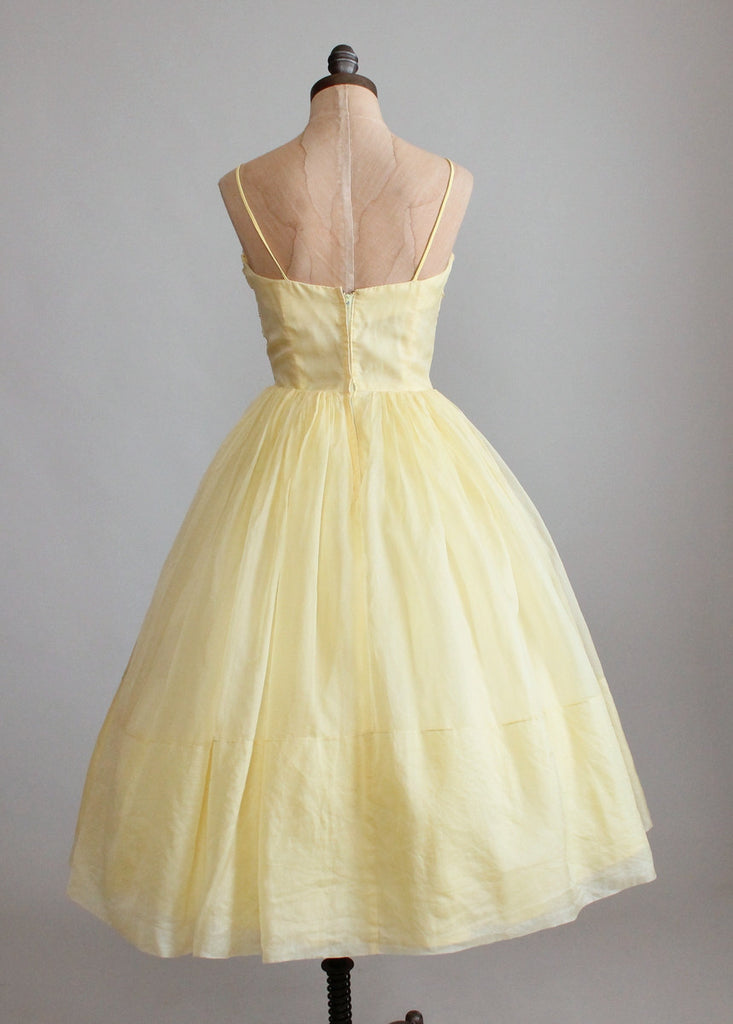 Vintage 1950s Pastel Yellow Organdy Prom Dress Raleigh