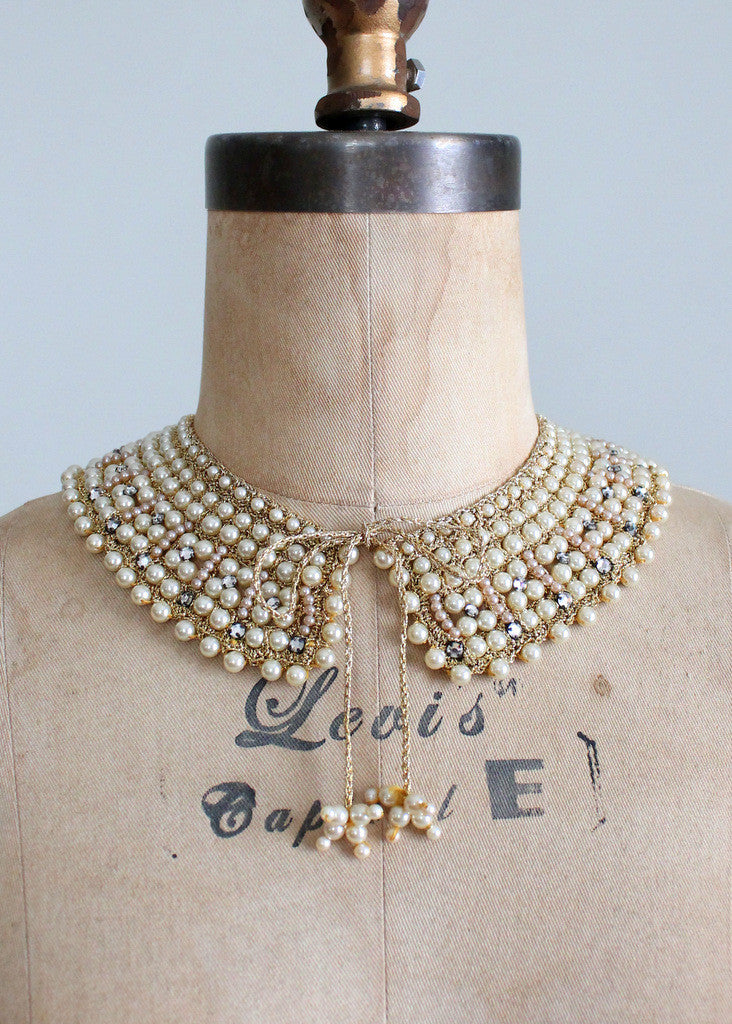 Vintage 1950s Pearl and Rhinestone Sparkle Collar