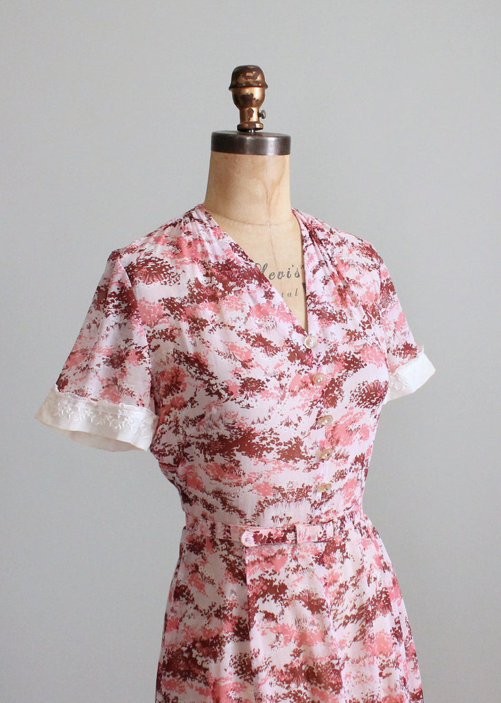 Vintage 1950s Peg Palmer Pink Print Summer Day Dress