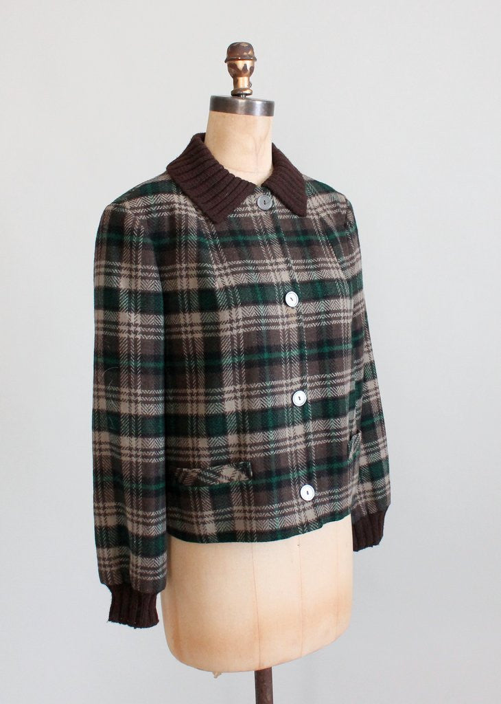 Vintage 1950s Pendleton Plaid Wool Hiking Jacket