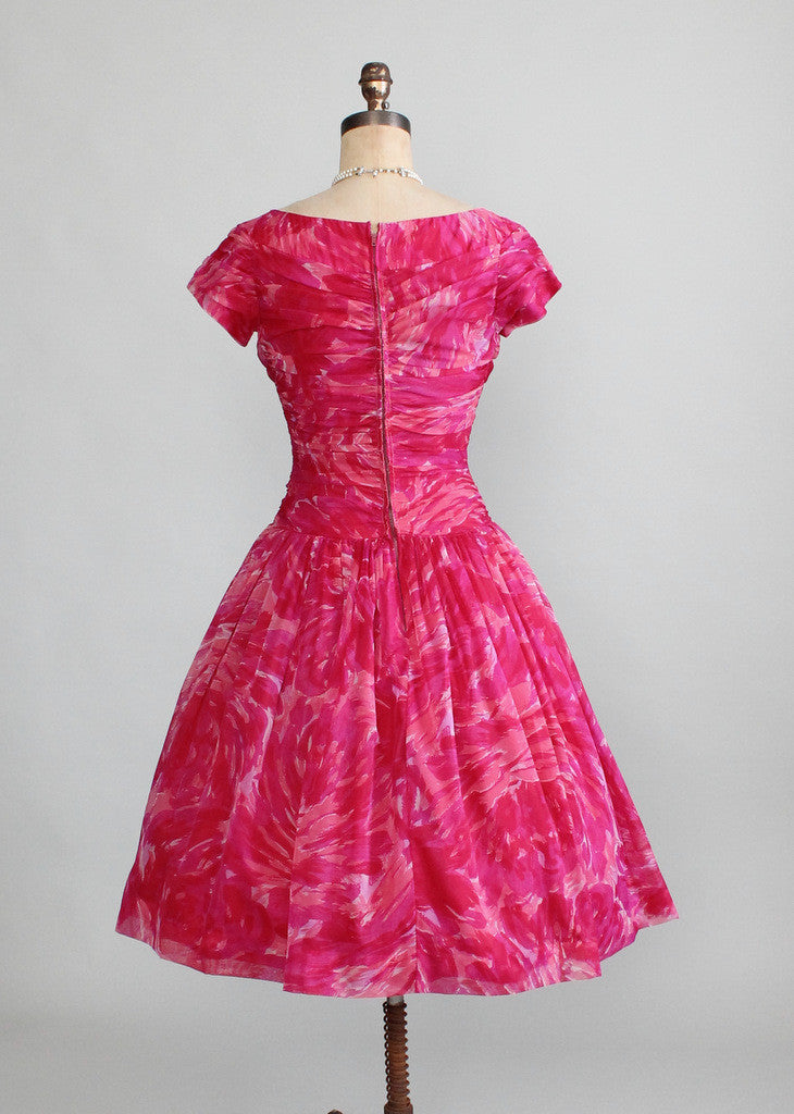 Vintage 1950s Pink Swirl Chiffon Party Dress | Raleigh Vintage