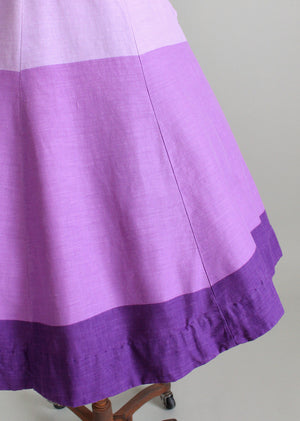 Vintage 1950s Purple Color Block Summer Dress