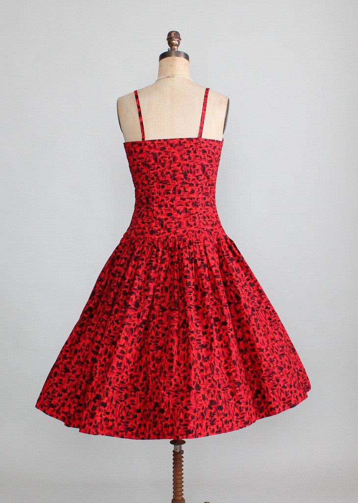 Vintage 1950s Red and Black Tiki Print Sundress