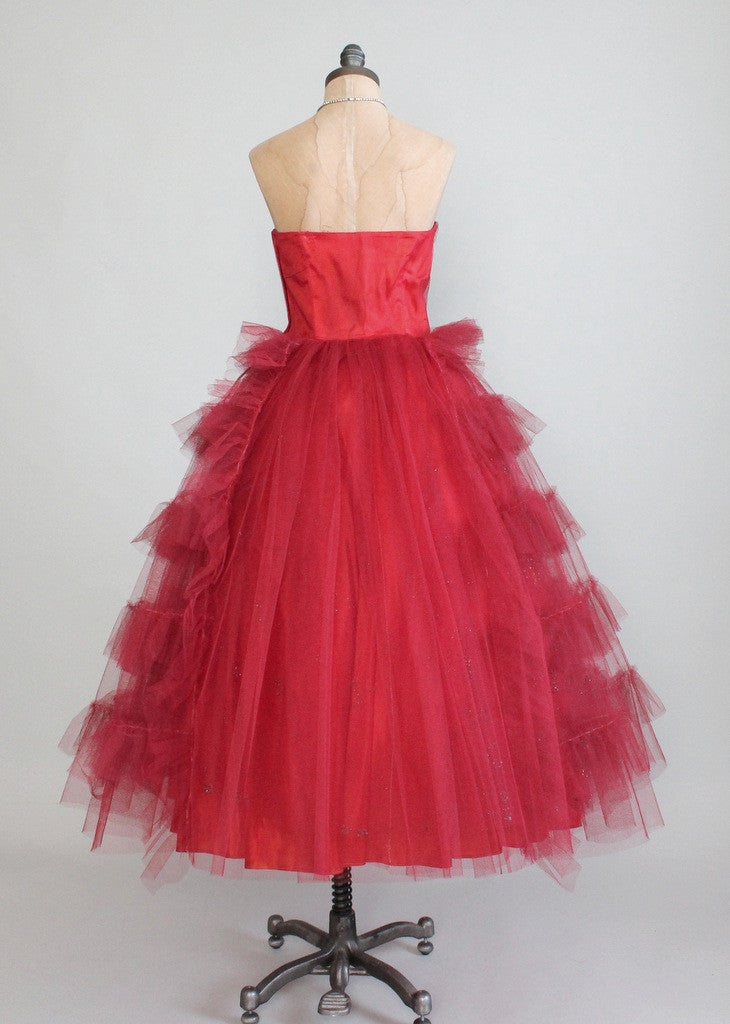 Vintage Early 1950s Red Tulle Strapless Prom Dress