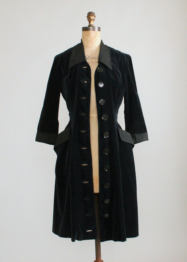Vintage 1950s Rene Ruth Black Velvet Coat Dress