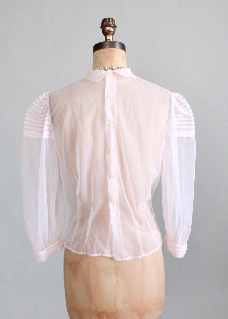 Vintage 1950s Sheer Pink Nylon Sweetheart Blouse