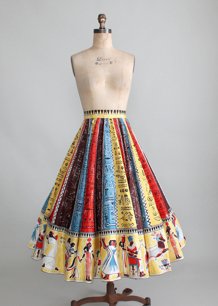 Vintage 1950s Egyptian Hieroglyphs Circle Skirt
