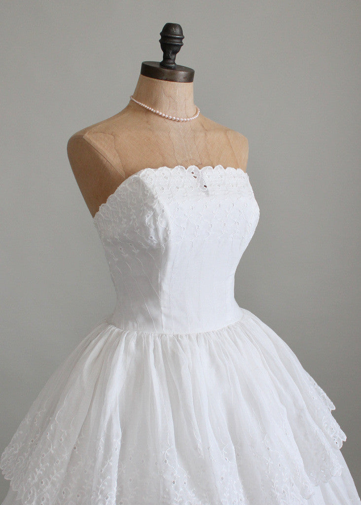 Vintage 1950s White Organdy Eyelet Wedding Dress