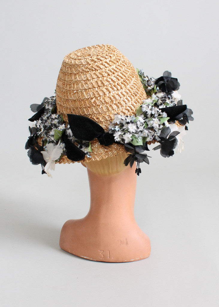 Vintage 1950s Suzy Lee Straw Floral Summer Hat
