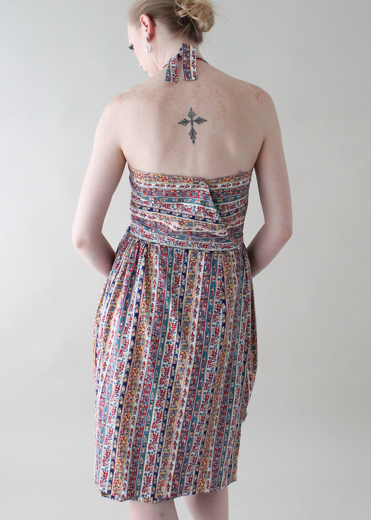 Vintage 1950s Swirl Cotton Halter Wrap Dress