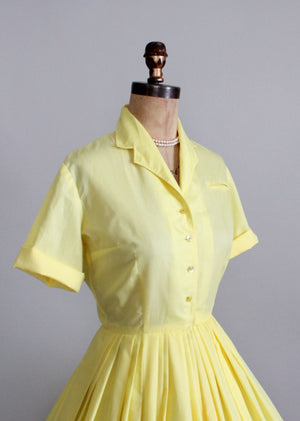 Vintage 1950s yellow cotton day dress