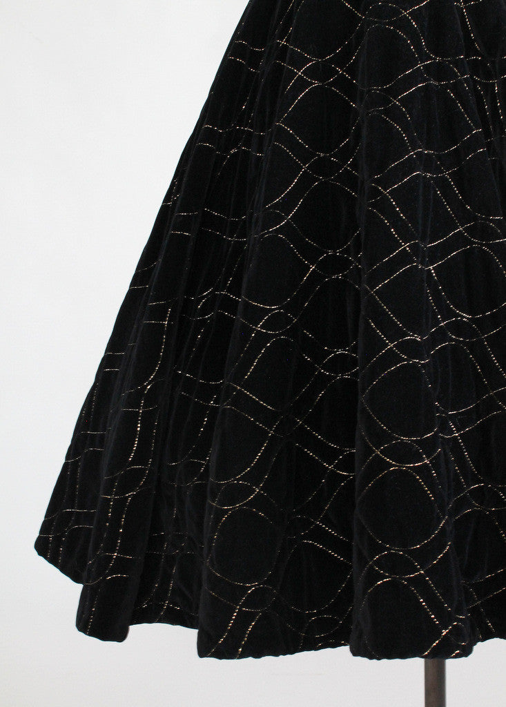 Vintage 1950s Gold Stitched Velvet Circle Skirt
