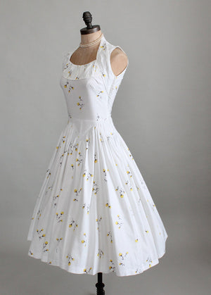 Vintage 1950s White Floral Cotton Sundress